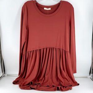 Entro Rust Long Sleeve Super Soft Tunic Med Large